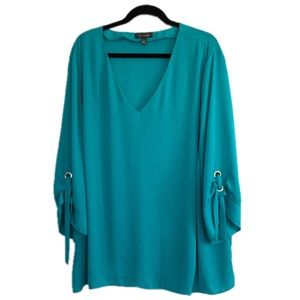 The Limited Plus Size 3X Teal Tie Sleeve Top